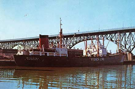 Ship on the Cuyahoga River under the Main Avenue Bridge