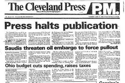 Front page of last issue of Cleveland Press, 1982.